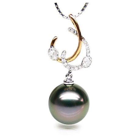 Ciondolo Corfou - Perla di Tahiti Nera, Diamanti, 2 Ori