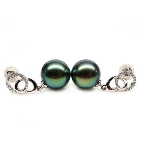 Boucles d'oreilles montures entournées - Perles Tahiti, or blanc