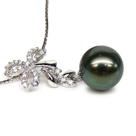 Pendentif création florale - Perle de Tahiti - Or blanc, diamants