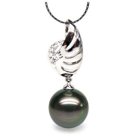 Pendentif symbole liberté - Pendentif aile perle de Tahiti - Or blanc, diamants