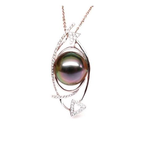 Pendentif elliptique - Perle Tahiti paon aubergine - Or blanc, diamants