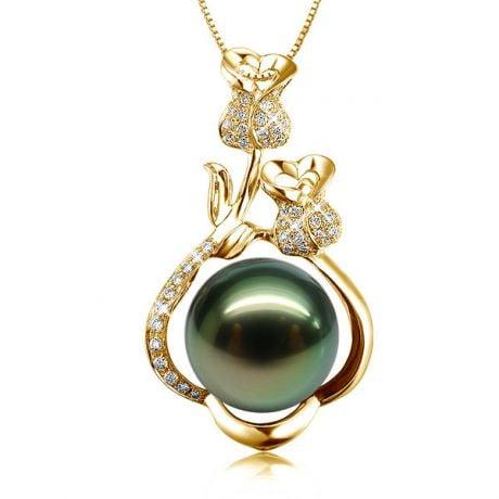Ciondolo Rose - Oro Giallo, Diamanti e Perla di Tahiti