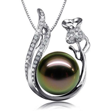 Ciondolo Arvoredo - Oro Bianco, Diamanti e Perla di Tahiti