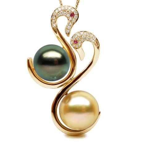 Pendentif Cygnes Perles des Mers du Sud, Or Jaune