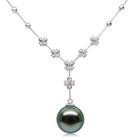 Collier pendentif or blanc, diamants et perle de Tahiti 13/14mm