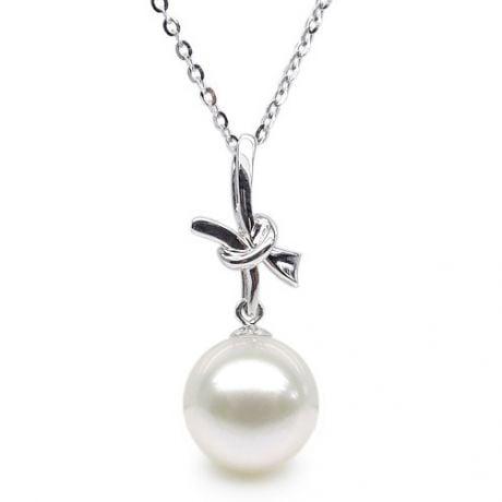 Pendentif noeud or blanc 18cts monté d'une perle d'eau douce blanche