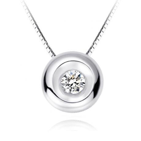 Pendentif solitaire or blanc - Diamant serti clos 0.10ct