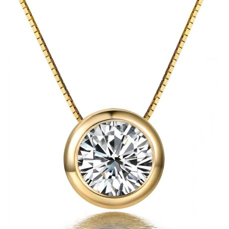 Pendentif solitaire en diamant 0.25ct - Collier or jaune 750/1000