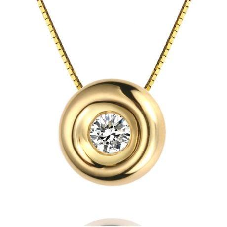 Ciondolo Solitario - Oro giallo - Diamanti 0.0100ct