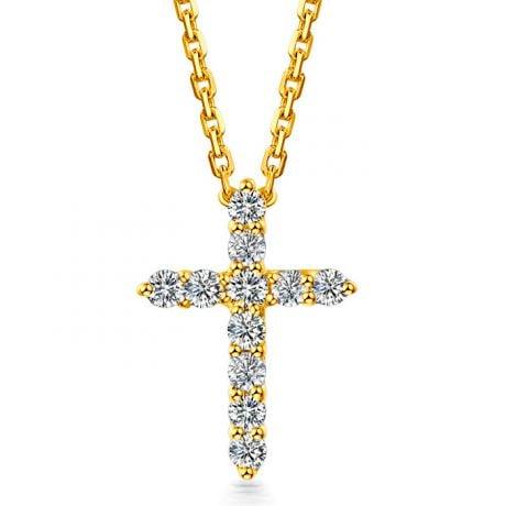 Ciondolo Croce Diamantata - Oro Giallo e Diamanti VS/G | Gemperles