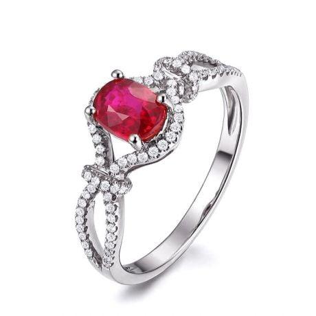 Bague rubis 1 carat or blanc. Diamants sertis | Secret Garden
