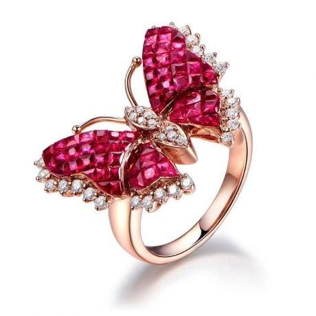 Bague Papillon argent. Rubis Birmanie, Or rose et diamants