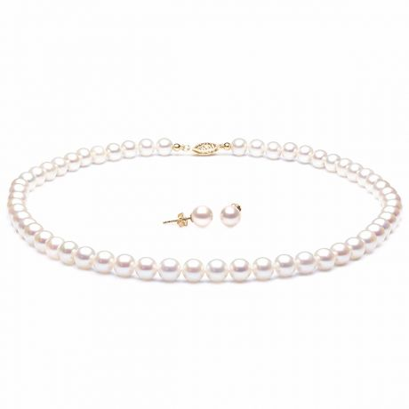 Parure Coquette I Collier & Boucles Perles Blanches AAA