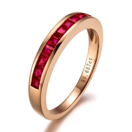 Bague contemporaine or rose - Rubis sertis rails de 0.60 carat