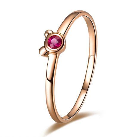 Bague solitaire rubis - Or rose 18 carats - Mon petit ourson