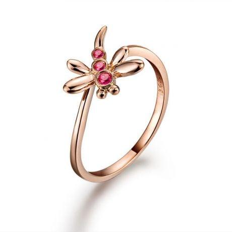 Bague libellule en or rose et rubis