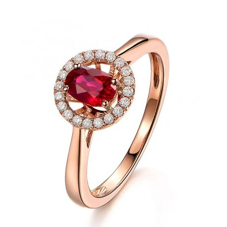Bague rubis 0.65ct, Or rose et diamants. Enmènes-moi