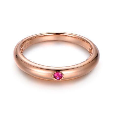 Anello Bombato Wedding First - Oro Rosa & Rubino Solitario