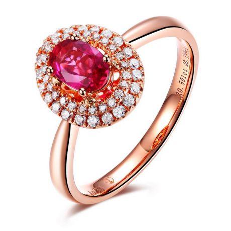 Bague de fiançailles rubis diamants et or rose - Forme ovale