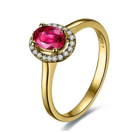 Anello Di Fidanzamento Contrasto - Oro Giallo, Diamanti & Rubino Birmano