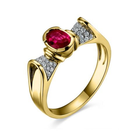 Bague rubis ovale, diamants, or jaune - L'esthétique du caractère