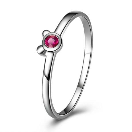 Bague solitaire rubis - Or blanc 18 carats - Mon petit ourson