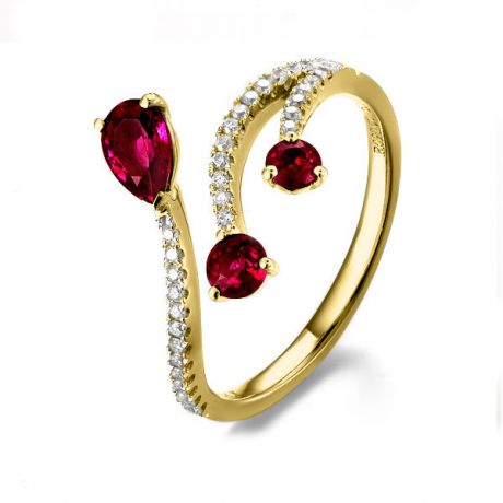 Anello gocce di rubini - Diamanti, oro giallo