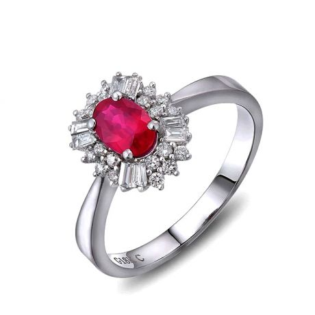 Bague fiançailles rubis, diamants or blanc