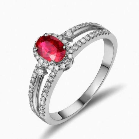 Bague fiançailles rubis or blanc. Diamants