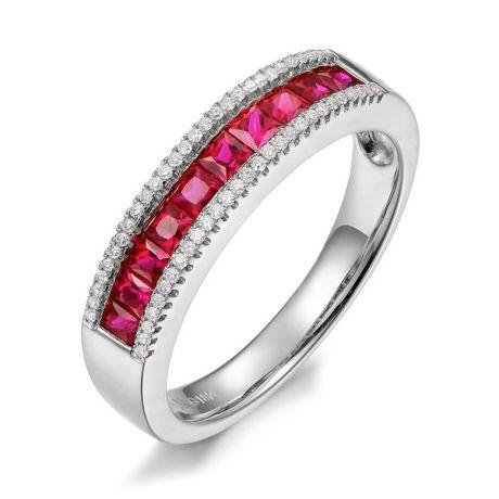 Anello rubini e diamanti - oro rosa 18ct