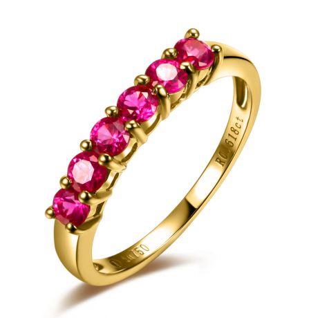 Anello rubini oro giallo - Anello pavé di sei rubini