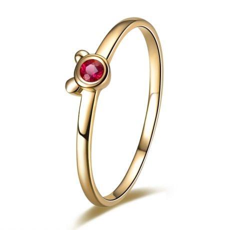 Anello solitario rubino - Oro giallo 18 carati - Orsetto