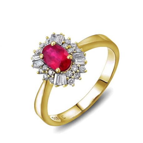 Bague fiançailles rubis, diamants or jaune