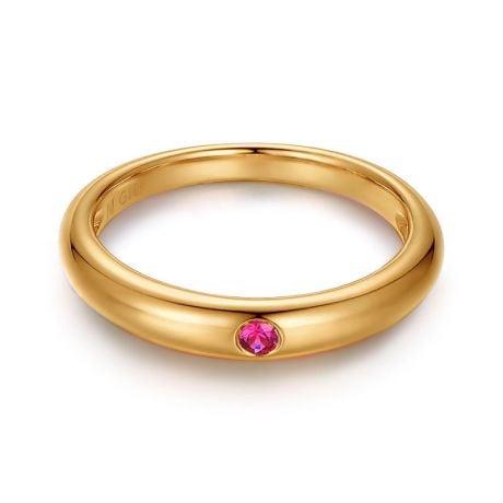 Alliance de Mariage Or Jaune 18cts et Rubis Rouge Rosé