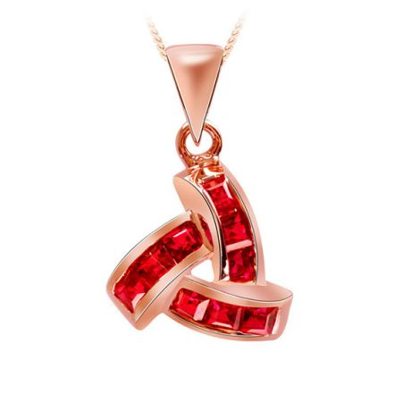 Pendentif contemporain Or rose - Rubis sertis sur rails 0.45 carat