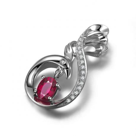 Pendentif cygne or blanc - Rubis et diamants en pendeloque