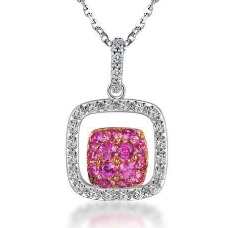 Pendentif carré - 2 carrés superposés - Rubis et diamants en pendeloque