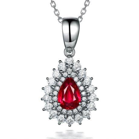 Ciondolo Rubino taglio pera - Diamanti e oro bianco