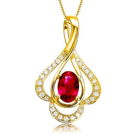 Pendentif solitaire Or jaune - Rubis et diamants en pendeloque