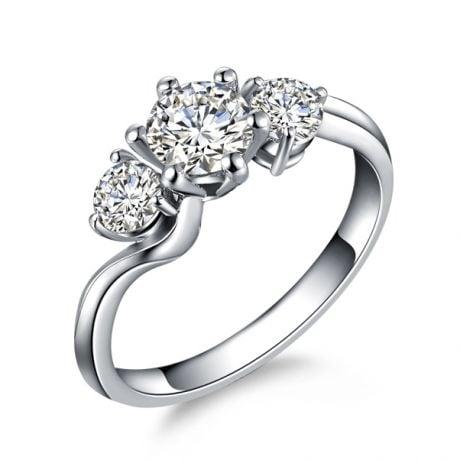 Anello Trilogy Oro Bianco 18kt - Anello di Fidanzamento 3 Diamanti | Gemperles
