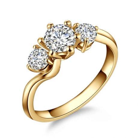 Anello Trilogy Oro Giallo 18kt - Anello di Fidanzamento 3 Diamanti | Gemperles