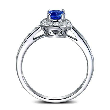 Bague fiançailles solitaire. Saphir bleu Or blanc et diamants