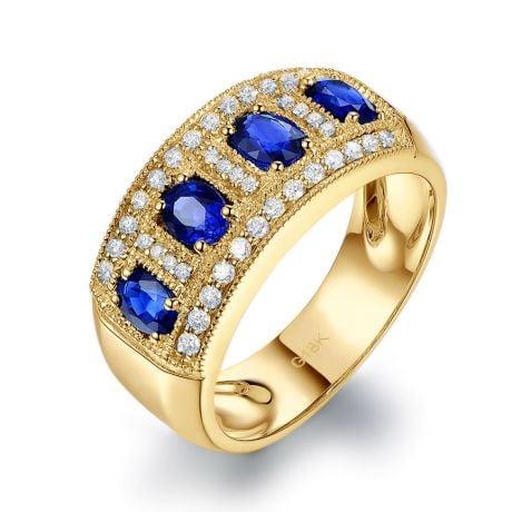 Anello classico Zaffiri, Diamanti e Oro giallo 18ct | Bhagya