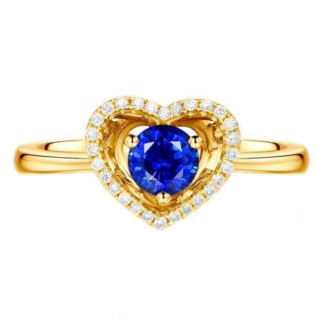 Anello Love me tender. Oro bianco, Zaffiro e Diamanti