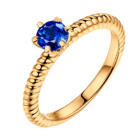 Bague or jaune monture torsadée. Saphir bleu 0.55ct