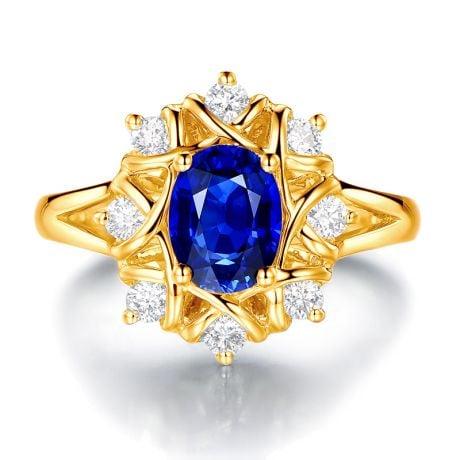 Bague fiancailles fleur saphir et diamants. Solitaire Or jaune