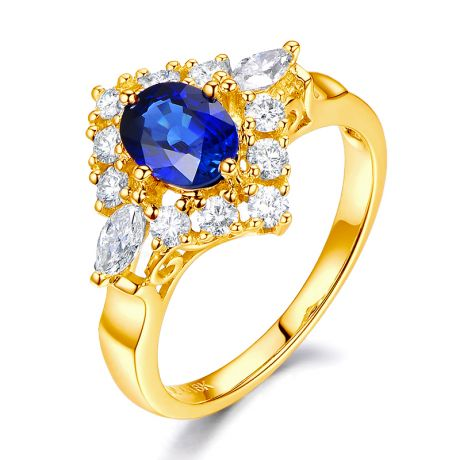 Bague fiançailles saphir diamants et or jaune.