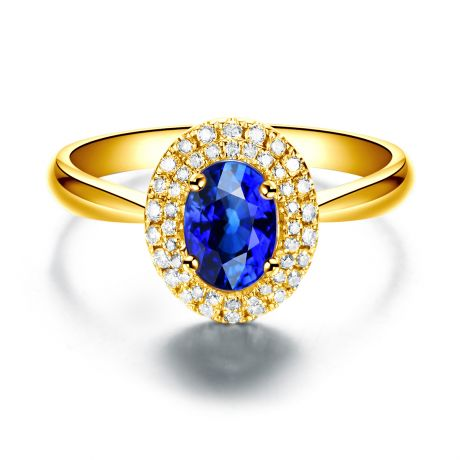 Bague de fiançailles ovale. Or jaune, saphir 0.50ct et diamants