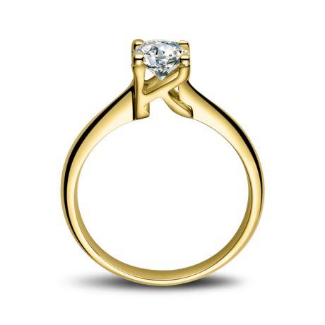 Anello Solitario Lettera Alfabeto K - Oro Giallo e Diamante | Gemperles