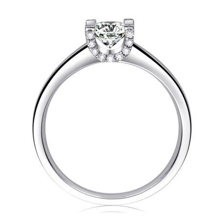 Anello Solitario Lettera Alfabeto U/C - Oro Bianco e Diamante | Gemperles